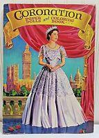Uncut Vtg '53 CORONATION Paper Doll Coloring Book Saalfield 4450 Queen Elizabeth