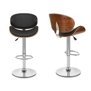 Bar Stool Set with Backrest and Footrest Dining Breakfast Bar Chair Leatherette