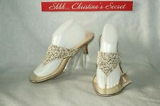 CHICOS NWT Thong Slide Sandals Neutral Pearls Embellished Kitten Sz 10 *$79