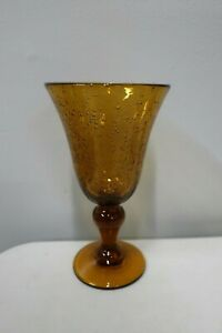 LARGE AMBER GLASS BUBBLE GOBLET