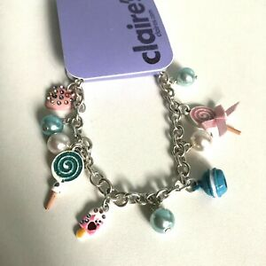Claire's Silver Tone Charm Bracelet Beads Lollipops Heart Bow Girl Gift Pretty