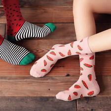 Casual Women Winter Cotton Fruit Watermelon Printing Breathable Long Socks Fine