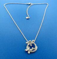 Swarovski Swan Signed Floral Crystal Pendant Necklace