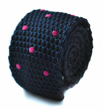 Knitted Skinny Navy Blue & Bright Pink Spot Mens Tie by Frederick Thomas FT1734