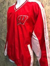 Wisconsin pullover windbreaker v-neck side zipper red white men Xl Giii Apparel