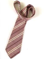 Vintage Beau Brummell Palm Beach 4 Fold Striped Necktie Faded Red & Cream 1938