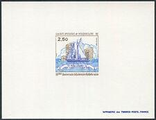 SAINT PIERRE ET MIQUELON Epreuve de Luxe N°492** Bateau TB, 1988 Boat Proof  MNH