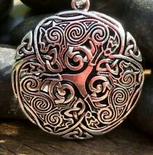 Distressed Silver Plate Celtic Viking Fenrir Wolf Trio Pendant Necklace