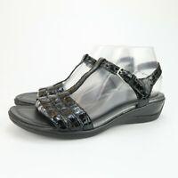 Ecco Womens T Strap Sandals Black Croc Print Patent Leather Size 40 EUR 9 US