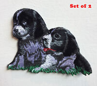 Dog Pair Cute Animal Art Badge Iron or sew on Embroidered Patch Set of 2