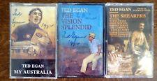 TED EGAN Music Cassette Tapes x 3 All Signed The Vision Splendid, My Australia