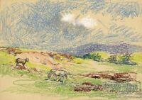 John Murray Thomson RSA, Horses, Scottish Highlands – Mid-C20th pastel drawing