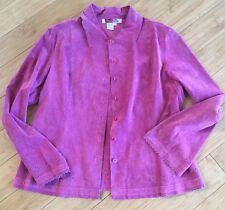 Live A Little Pink Womens Suede Jacket w/ Floral Cutouts Gorgeous Sz XL