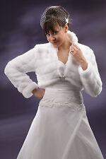 New Wedding Faux(Mink) Fur Shrug Bridal Bolero Jacket Coat Long Sleeve   A-59