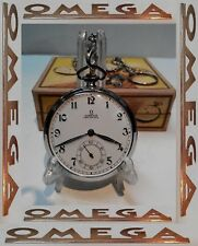 RARE VINTAGE SWISS POCKET WATCH OMEGA OPEN FACE ART DECO STYLE STAINLESS STEEL
