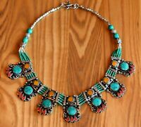 Nepal Tibetan Silver Bib Necklace Green Turquoise Nepalese Ethnic Coral Amber
