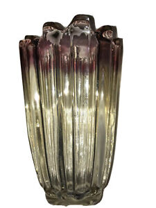 Red And Clear Ribbed Carnival Glass Vase