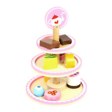 Wooden Dessert Stand 3 Tiered With Cakes And Accessories - Afternoon Tea Ages 3+