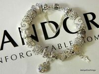 AUTHENTIC PANDORA BRACELET WITH CHARMS WINTER LOVE AND HEARTS  CHOICE OF BOX