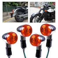 4x Universal Chrom Mini Motorrad Bullet Blinker Lampe für Harley Honda Kawasaki