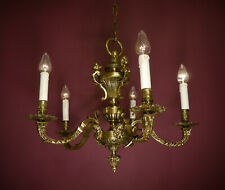 ANTIQUE BRONZE CHANDELIER VINTAGE CEILING LAMP LUSTRE OLD USED  Ø 28""