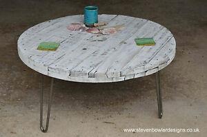 Bespoke White Coastal Cottage Round Coffee Tablewith Driftwood Effect Finish