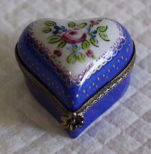 Limoges Dipinto A Mano Firmato Ciondolo o Patch Box-a forma di cuore