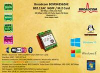 AzureWave AW-CB210NF M.2 Wlan Wifi BCM94356Z 11AC 867Mbps 2.4/5Ghz Bluetooth
