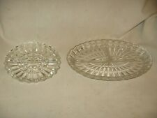 2 vintage divided glass serving trays platters plates dishes 2 sz's round oblong