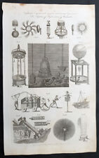1798 William Henry Hall Antique Scientific Print of Diving Bell & Hydro Machines
