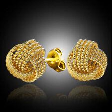 925 Silber Ohrringe 750 Echt Gold Vergoldet Ohrstecker Mesh Ball Ohrringe Neu,.