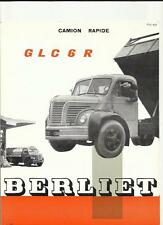 BERLIET GLC 6 R LORRY TRUCK SALES BROCHURE 1957. FRENCH