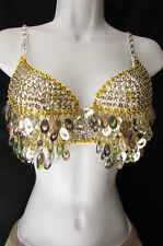 Sexy Women Fashion Bra Set Silver Gold Sequins and Beads Clubwear Belly Dancing