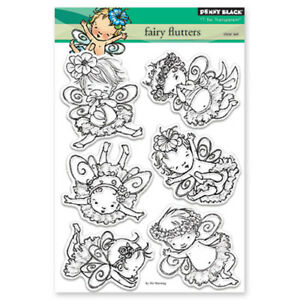 New Penny Black FAIRY FLUTTERS Clear Stamps Set Fairies Magical Play Fun Flower