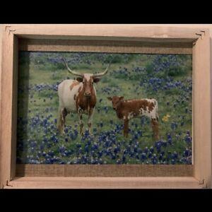 Framed Cow Picture On Canvas/Vinyl Rustic Farmhouse Wall Decor 8x10 Frame Art