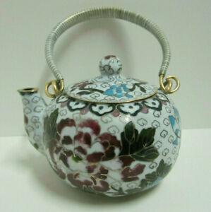 "Chinese 6""W Vintage White Cloisonne Bronze Brass Copper Floral Enamel Teapot"