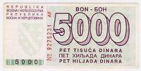 1992 Bosnia 5000 Dinara Very Rare War Money Siege of Sarajevo Paper Banknotes