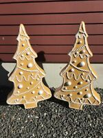 Blow Mold Christmas Gingerbread Tree White Icing Union Don Featherstone PAIR