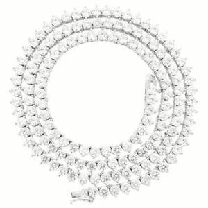 Unisex 1 Row 4mm 3 Prong Tennis Necklace Bracelet Silver Finish Lab Diamonds