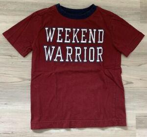 Boys Dark Red Blue Gymboree WEEKEND WARRIOR Graphic T-Shirt - 4 XSMALL