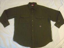 Vintage Men's Tommy Hilfiger Wool Blend Army Green Button Front Shirt Medium