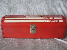 "Vintage Mini Case MONTGOMERY WARD Metal Tool Box Light Weight 17"" Long USA"