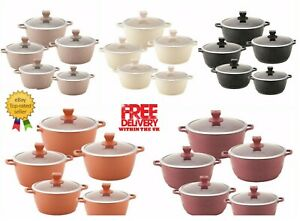 Sq Professional Nea MARBLE Coated Non-stick Cooking/Stockpot 5 Pcs Set
