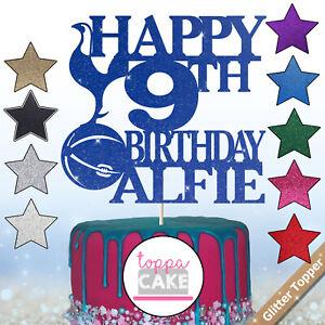 Custom Personalised Football Glitter Cake Any Team Topper Birthday Any Name Age