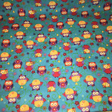 """Turquoise Blue With Cute Little Girly Owls Cotton Flannel Fabric 1yrd,34"""" x 43""""w"""