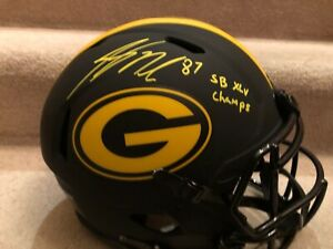 Packers JORDY NELSON Auto F/S ECLIPSE Authentic Helmet w/ SB XLV Champs Script