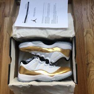 DS Men's Nike Air Jordan 11 Retro Low Closing Ceremony White Metallic Gold Sz 10