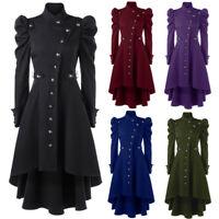 Women  Steampunk Long Coat Gothic Victorian Overcoat Outwear Retro Jacket EL