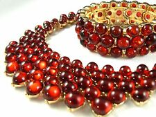 Vintage Style Trifari Necklace Bracelet Set Gold Tone Jelly Red Cabochon