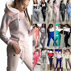 Women Casual Tracksuit Fleece Hoodie Sweatshirt Tops Pants Set Sport Sweat Suits